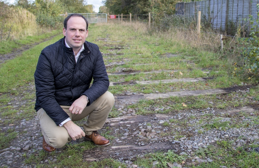 Greg inspects old, mothballed track for East-West Rail at Verney Junction