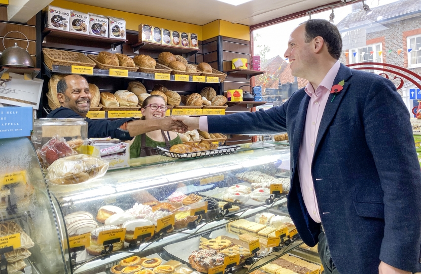 Greg wants to ensure our high streets flourish with independent traders.   He's pictured here meeting staff at  Godwin's Bakery, Princes Risborough.