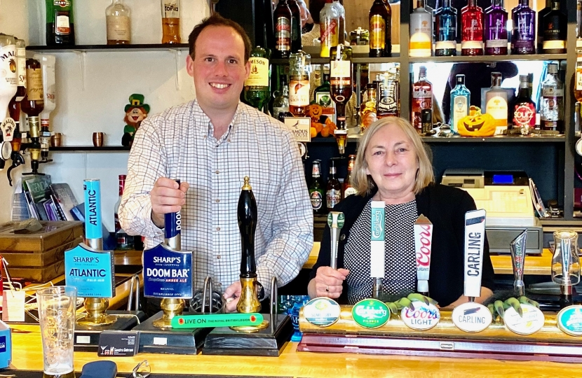 Pulling a pint at The Royal Oak, Tingewick with landlady Sandra. It is important  we support our locals, the backbone  of so many communities.