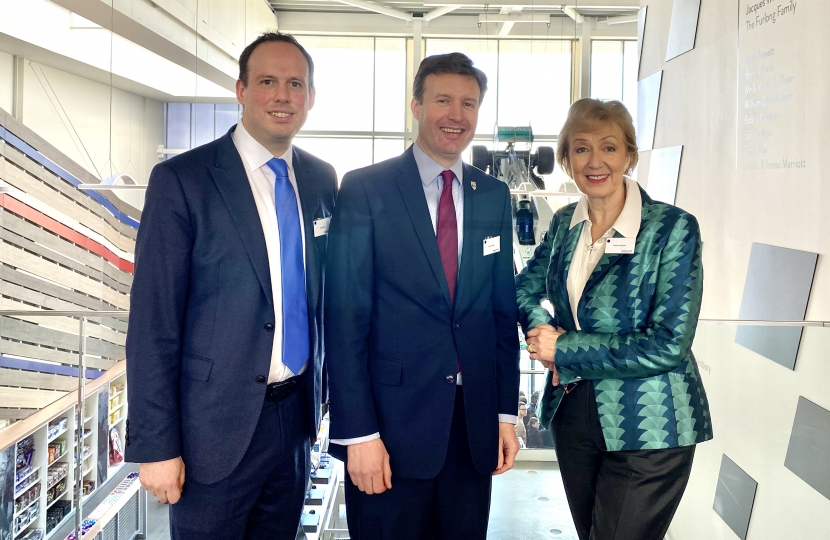 Greg with Silverstone Circuit Managing Director Stuart Pringle and neighbouring MP the Rt Hon Andrea Leadsome MP