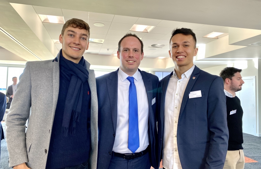 Greg Smith MP with F1 drivers Alex Albon and George Russell at Silverstone