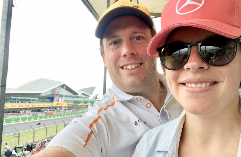 Greg and his wife Annalise at the British Grand Prix 2019