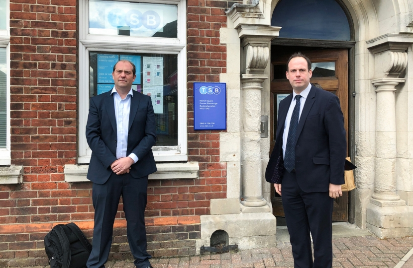 Greg and Princes Risborough Mayor Matthew Walsh outside TSB threatened with planned closure next year