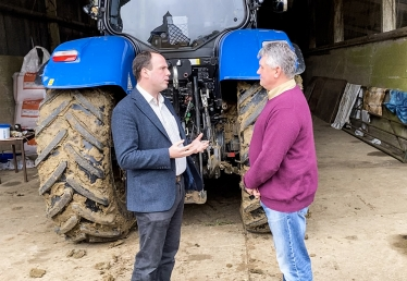 Greg discussing pressures on  farming with Haddenham farmer Anthony Aston.  We must do everything we can to support our farmers post-Brexit.